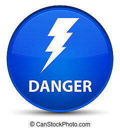 Danger (electricity icon) special blue round button