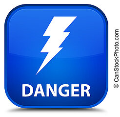 Danger (electricity icon) special blue square button