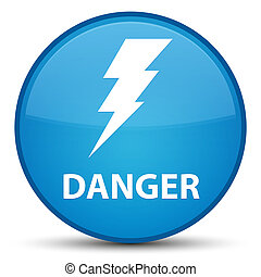 Danger (electricity icon) special cyan blue round button