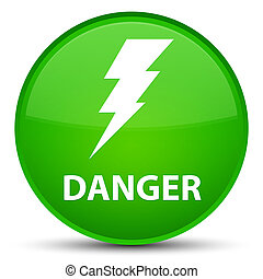 Danger (electricity icon) special green round button
