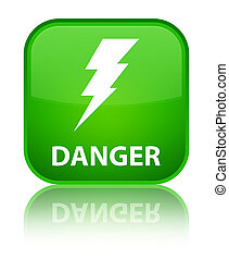 Danger (electricity icon) special green square button