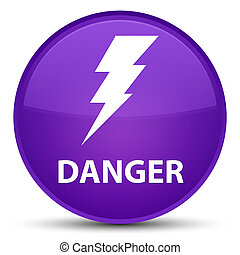 Danger (electricity icon) special purple round button