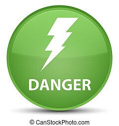 Danger (electricity icon) special soft green round button