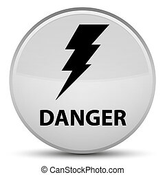 Danger (electricity icon) special white round button