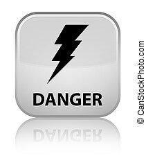 Danger (electricity icon) special white square button