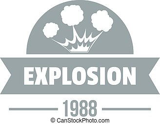 Danger explosion logo, simple gray style