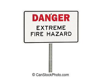 Danger Extreme Fire Hazard Sign Isolated on White - Danger ...