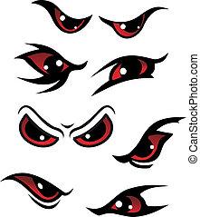 Danger eyes - Danger red eyes set isolated on white ...