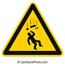 Danger Falling Objects Warning Sign Isolated, black drop triangle over yellow, large macro
