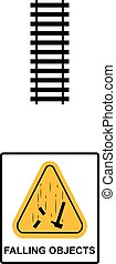 Danger Falling Objects Warning sign. Vector illustration