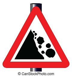 Danger Falling Rocks Traffic Sign - The traditional 'DANGER...