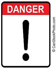 danger, fond, isolé, attention, plat, icône, marque, vector., avertissement, conception, signe, blanc, exclamation