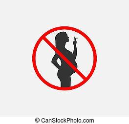 Danger for pregnant, no smoking. Vector illustration. Flat.