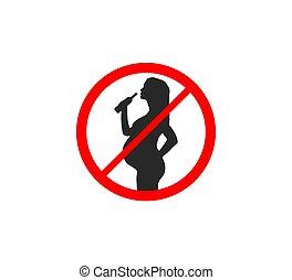 Danger for pregnant, not drink. Vector illustration. Flat.