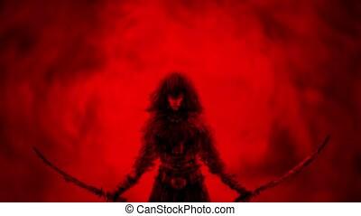 Danger girl warrior raises two swords. Fantasy animation....