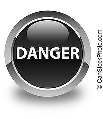 Danger glossy black round button