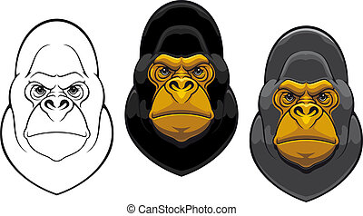 Danger gorilla monkey mascot in cartoon style isolated on...