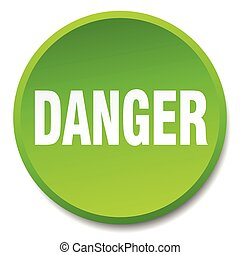 danger green round flat isolated push button