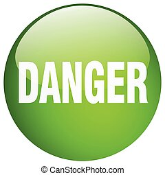 danger green round gel isolated push button