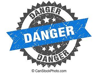 danger grunge stamp with blue band. danger