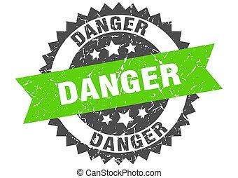 danger grunge stamp with green band. danger