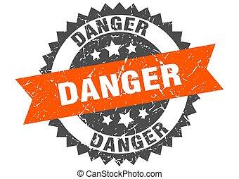 danger grunge stamp with orange band. danger