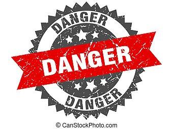 danger grunge stamp with red band. danger