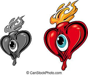 Danger heart with eye