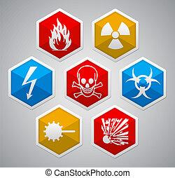 Danger hexagon icon