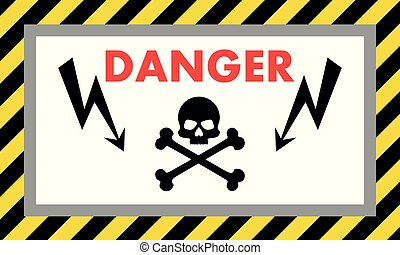Danger high voltage. Warning sign with skull pattern and arrow. Vector illustration.