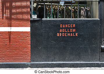"Danger Hollow Sidewalk - ""Danger Hollow Sidwalk"", painted on..."