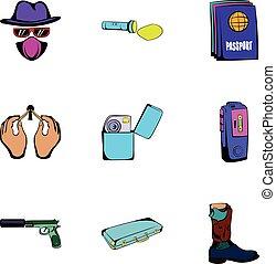 Danger icons set, cartoon style