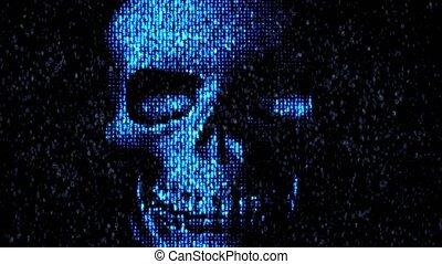 Danger in the Internet. Malicious code hacker. Skull -...