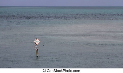 Danger in the Water - A danger sign sticks out of the water...