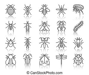 Danger Insect simple black line icons vector set