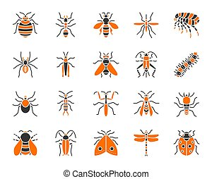 Danger Insect simple color flat icons vector set