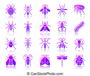 Danger Insect simple gradient icons vector set