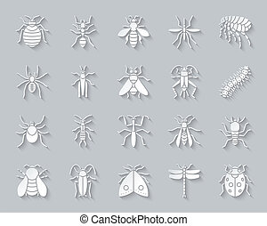 Danger Insect simple paper cut icons vector set