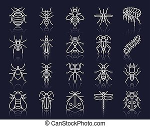 Danger Insect simple white line icons vector set