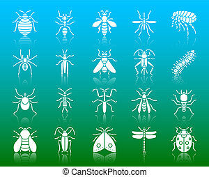 Danger Insect white silhouette icons vector set