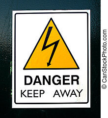 Danger keep away sign isolated on white