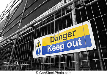 Danger Keep Out sign with black and white background