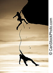 danger., kletterer, mannschaft