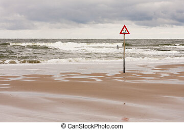 danger label at the North Sea - danger label drowning at the...
