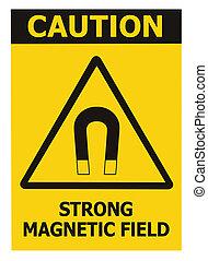 danger, magnétique, prudence, sécurité, icône, grand, détaillé, closeup, attention, isolé, risque, adhésif, concept, avis, fort, étiquette, noir, avertissement, vertical, champ, texte, signe, autocollant, macro, danger, triangle, jaune