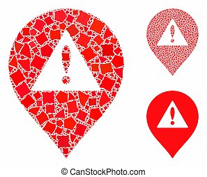 Danger map marker Composition Icon of Trembly Pieces
