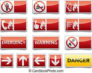 danger, mini, ensemble, panneau avertissement