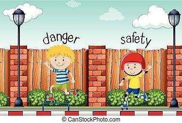 danger, mots, opposé, sécurité