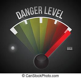 danger, niveau, mètre, élevé, bas, mesure