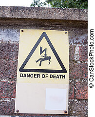 danger of death yellow sign with lightening